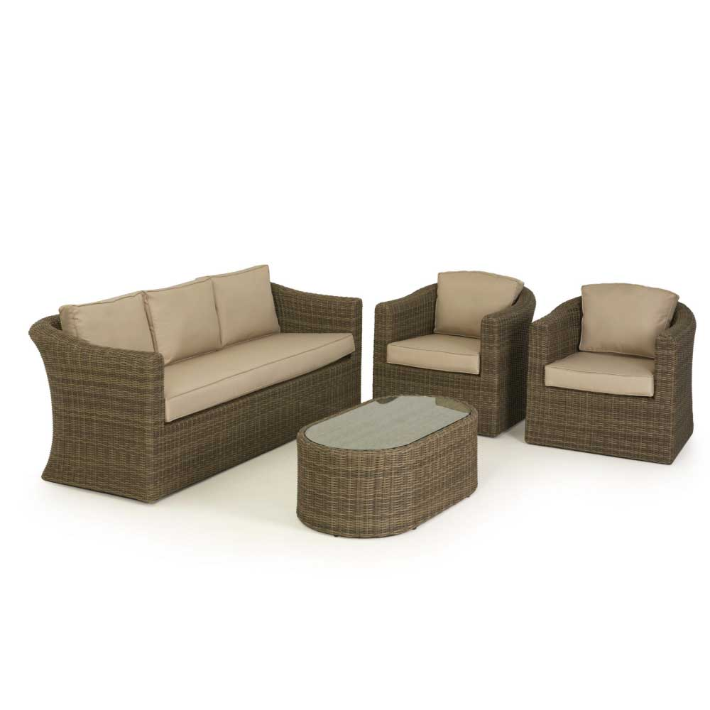 Maze Rattan Milan 8 Seat Round Dining Set With Carver Chairs: Winchester Rattan Furniture Range