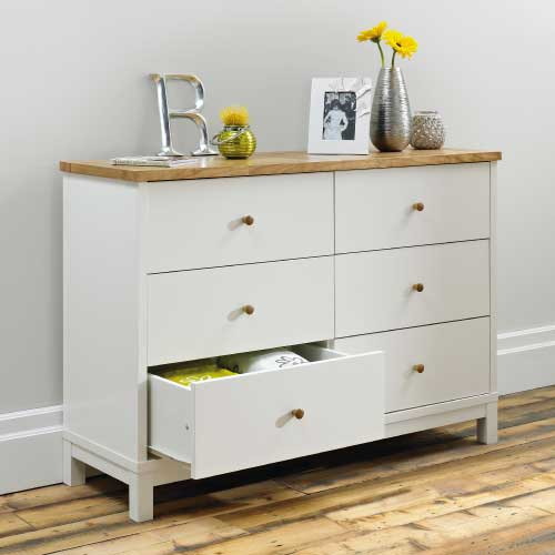 Atlanta Two Tone Wide 6 Drawer Chest Of Drawers