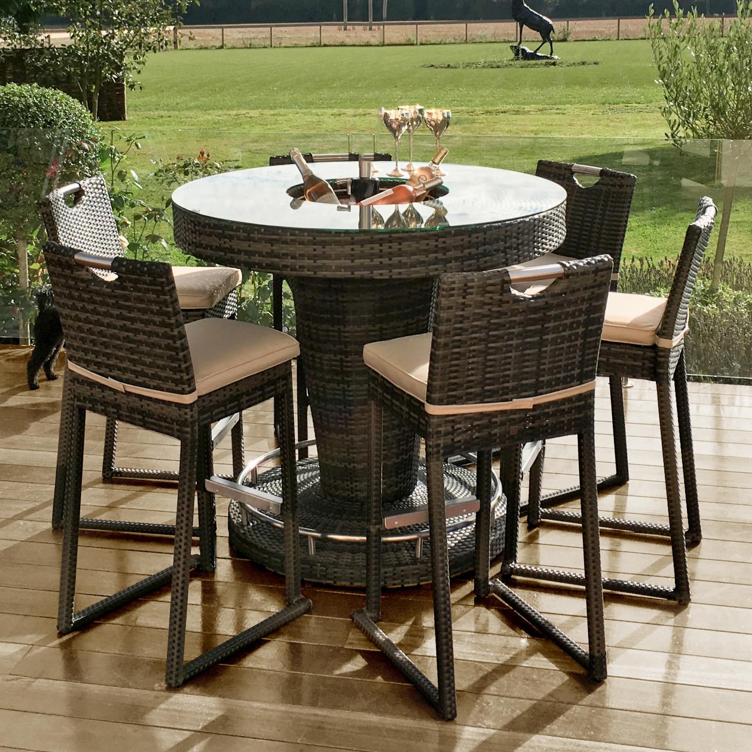 Brown Flat Weave 6 Seat Bar Set With Ice Bucket Furniture Northampton Simply Furniture